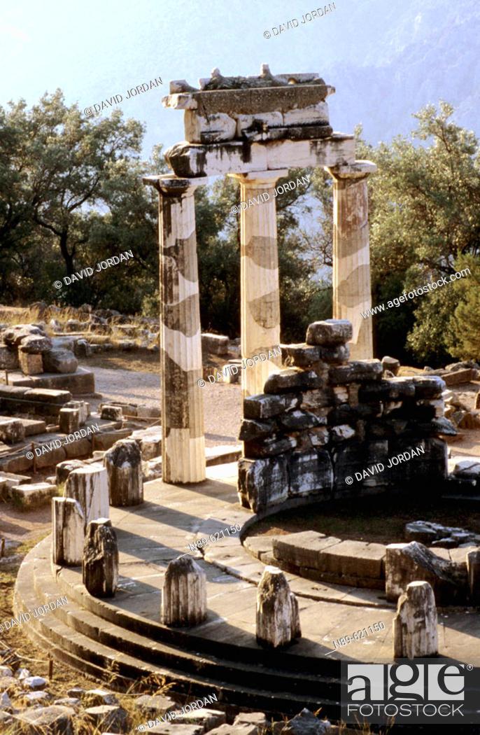Stock Photo: Morning. Tholos. Delphi Temple. Greece.