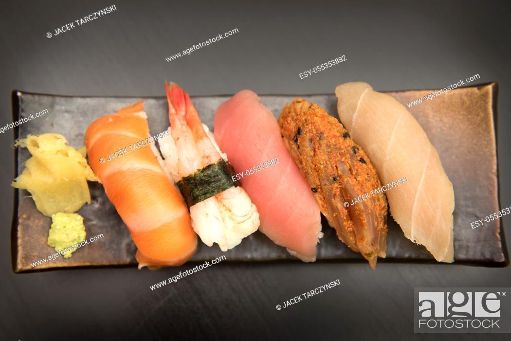 Stock Photo: close up of sashimi sushi set.