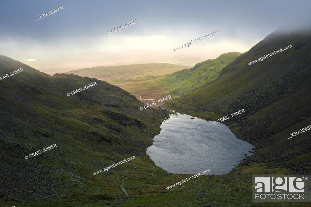Stock Photo: Goat's Water between The Old Man of Coniston and Dow Crag in the Lake District National Park, Cumbria, England.