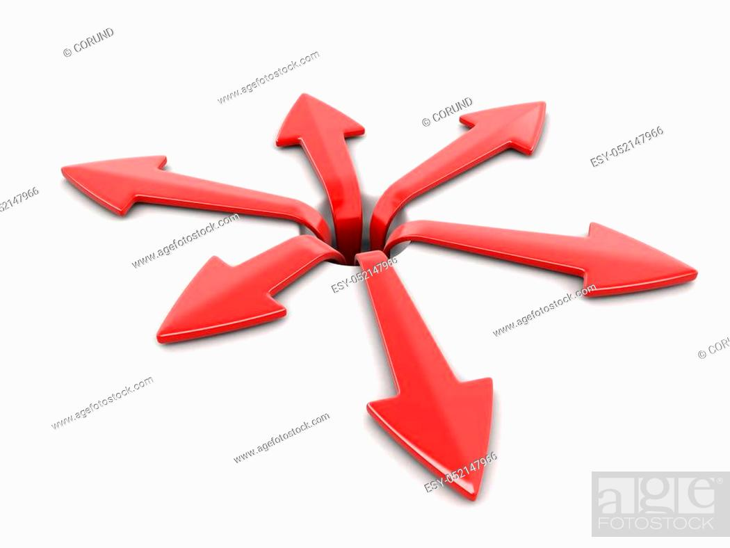 Stock Photo: 3d image of arrows in different directions. Image with clipping path.