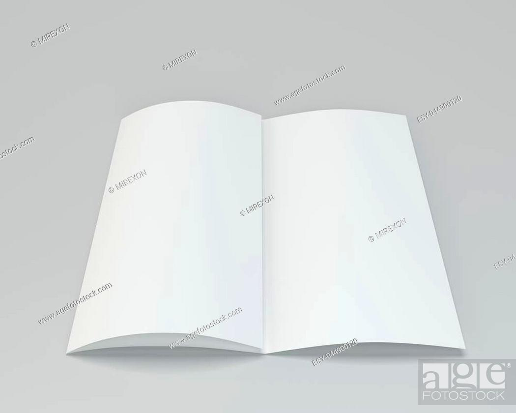 Stock Photo: Blank folded white brochure. 3d rendering on gray background.