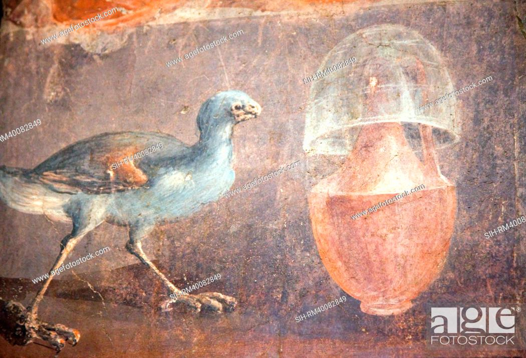 Stock Photo: Italy, Naples, Naples National Archeological Museum, from Herculaneum, Still-life with Chicken.
