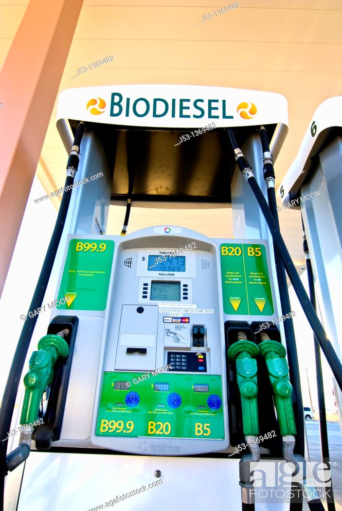 Stock Photo: Biodiesel fuel pumps: B99 9, B20, B5 at retail fuel station, Minden Nevada.