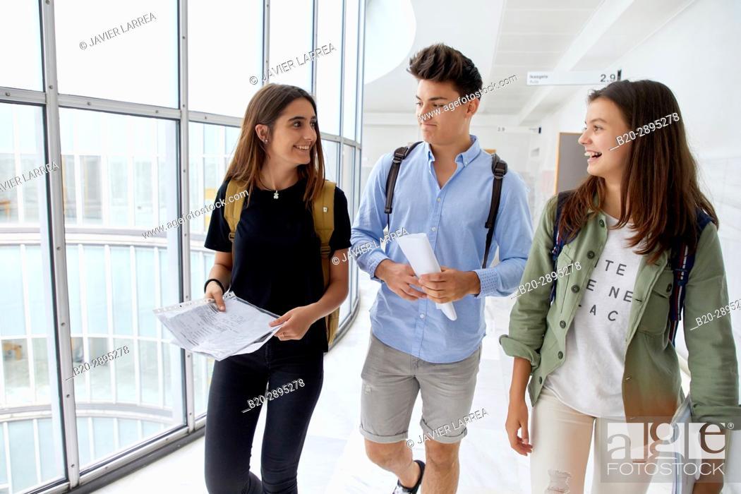 Stock Photo: Students. College. School of Business Studies. University. Donostia. San Sebastian. Gipuzkoa. Basque Country. Spain.