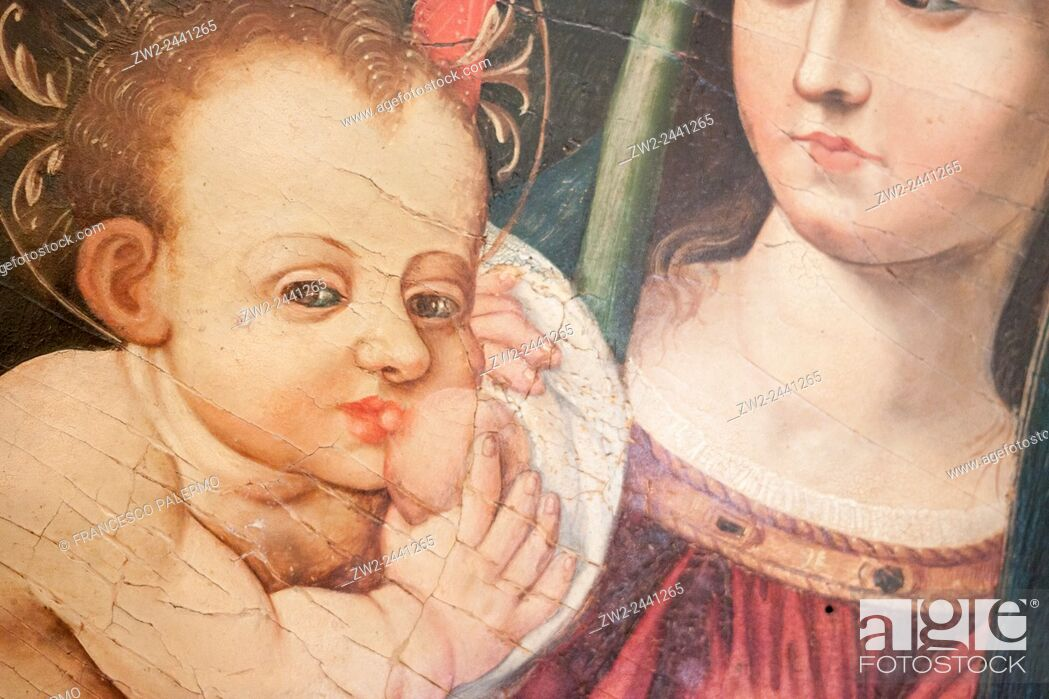 Stock Photo: Mother of Jesus in a medieval painted. Palermo, Sicily. Italy.
