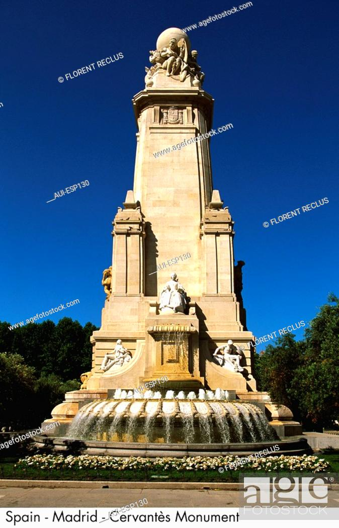 Stock Photo: Spain - Madrid - Cervantes Monument Spain.