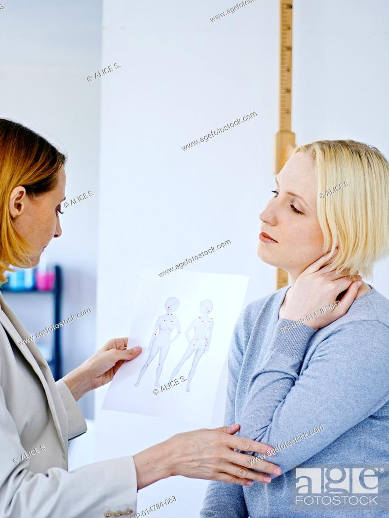 Stock Photo: Female patient suffering from fibromyalgia.
