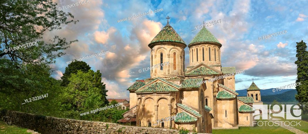 Stock Photo: Pictures & images of Gelati Georgian Orthodox churches of (foreground) St George, 13th century, (behind) Church of the Virgin, 1106.