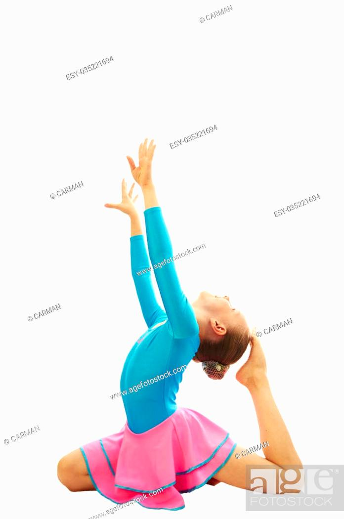 0166c06ed young smiling preteen girl doing gymnastics stretching exercises on ...