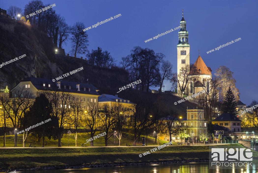 Stock Photo: Austria, Salzburgerland, Salzburg, Mullner Kirche church, dusk.