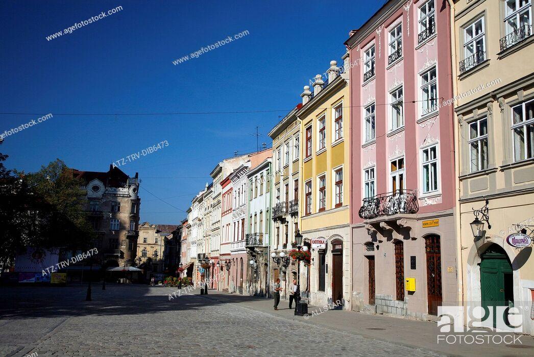 Stock Photo: NORTHERN FACADE OF RYNOK SQUARE; LVIV, UKRAINE; 02/09/2007.
