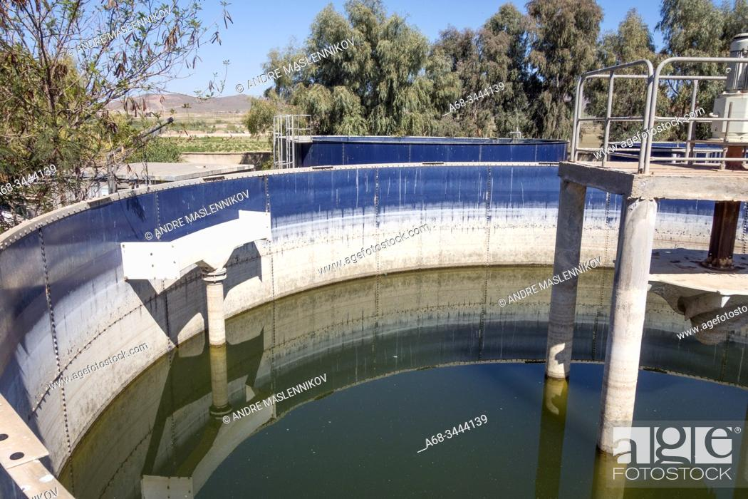 Stock Photo: Wastewater treatment plant for a private hotel with very poor function. Marrakech. Morocco. Photo: André Maslennikov.