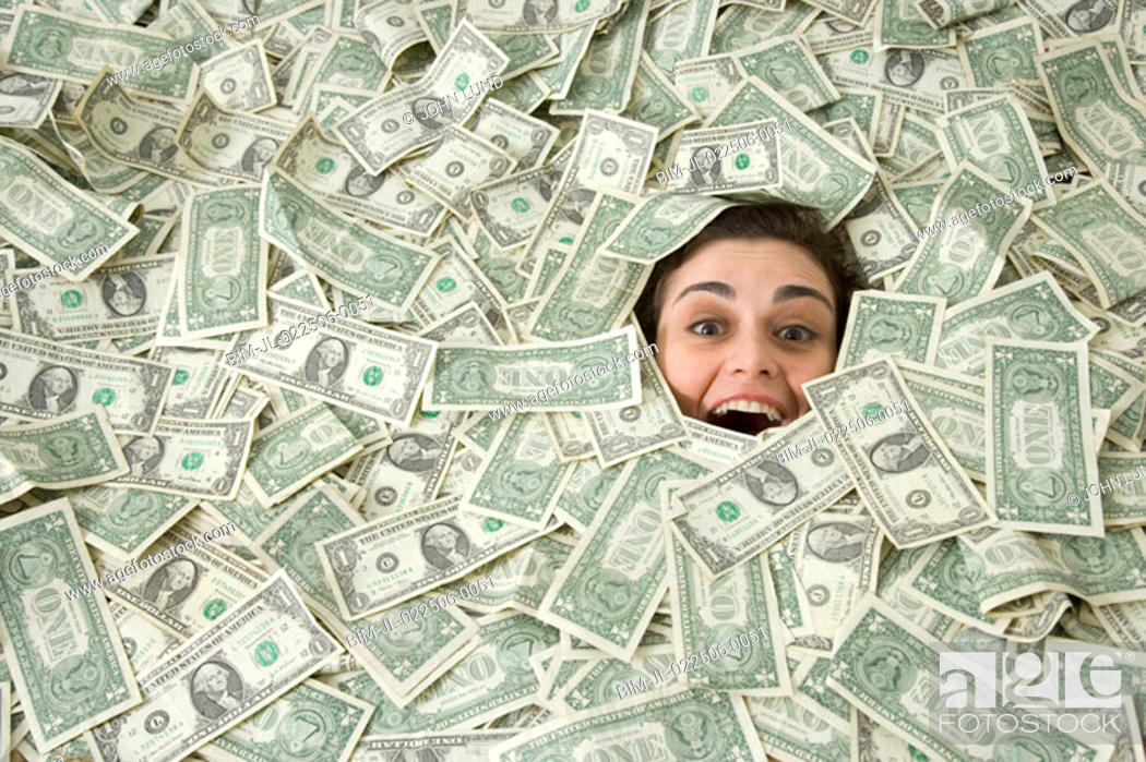 Image result for woman in pile of money