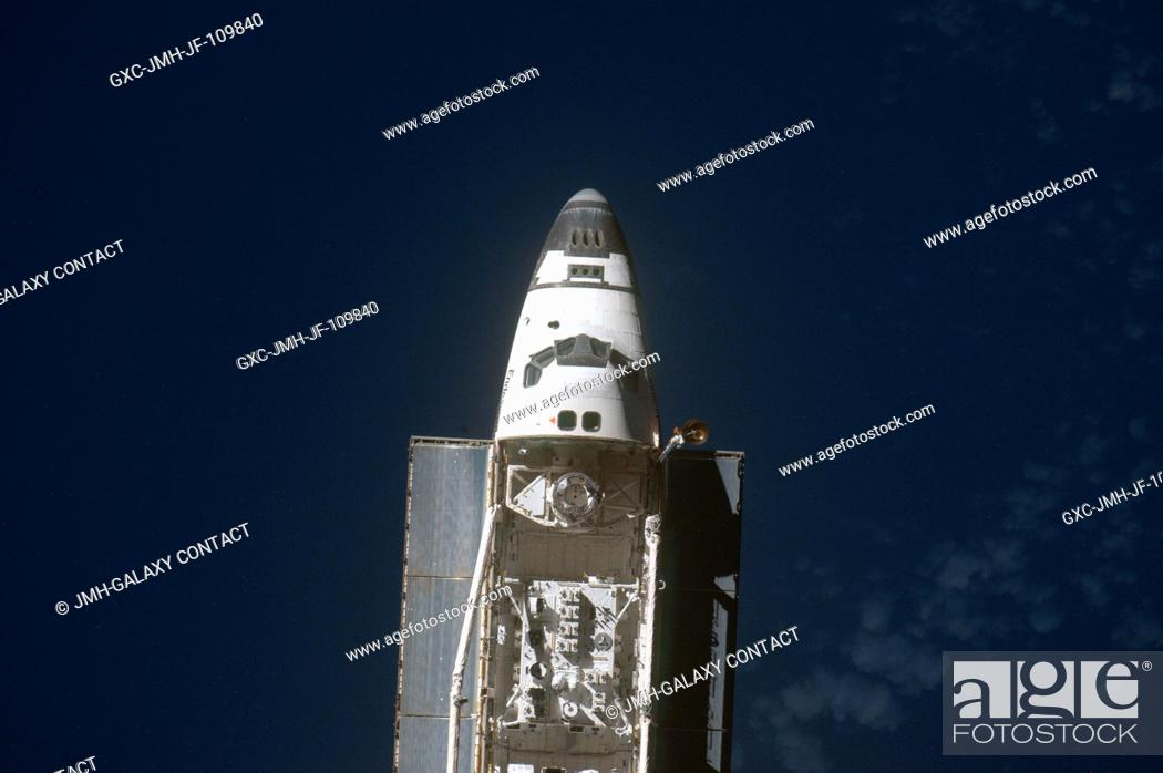 Stock Photo: This view of the Space Shuttle Endeavour was provided by an Expedition 20 crewmember during a survey of the approaching vehicle prior to docking with the.