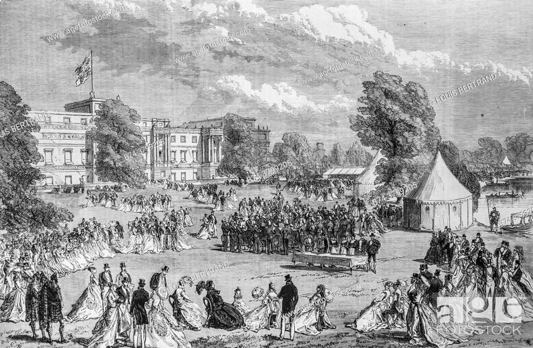 Photo de stock: a reception in the gardens of buckingham palace the illustrious universe, publisher michel levy 1868.