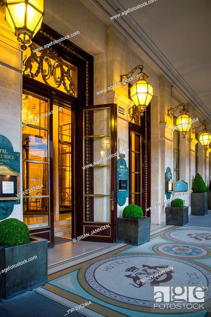 Evening at the entry to Hotel Le Meurice near Musee du
