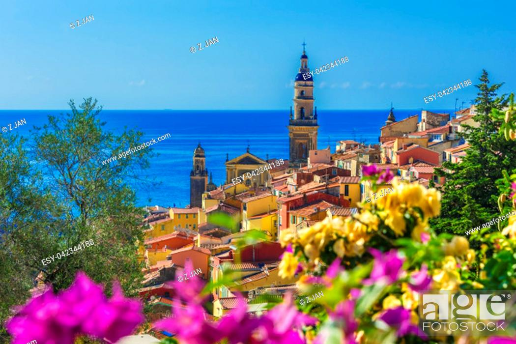 Stock Photo: Old town architecture of Menton on French Riviera.