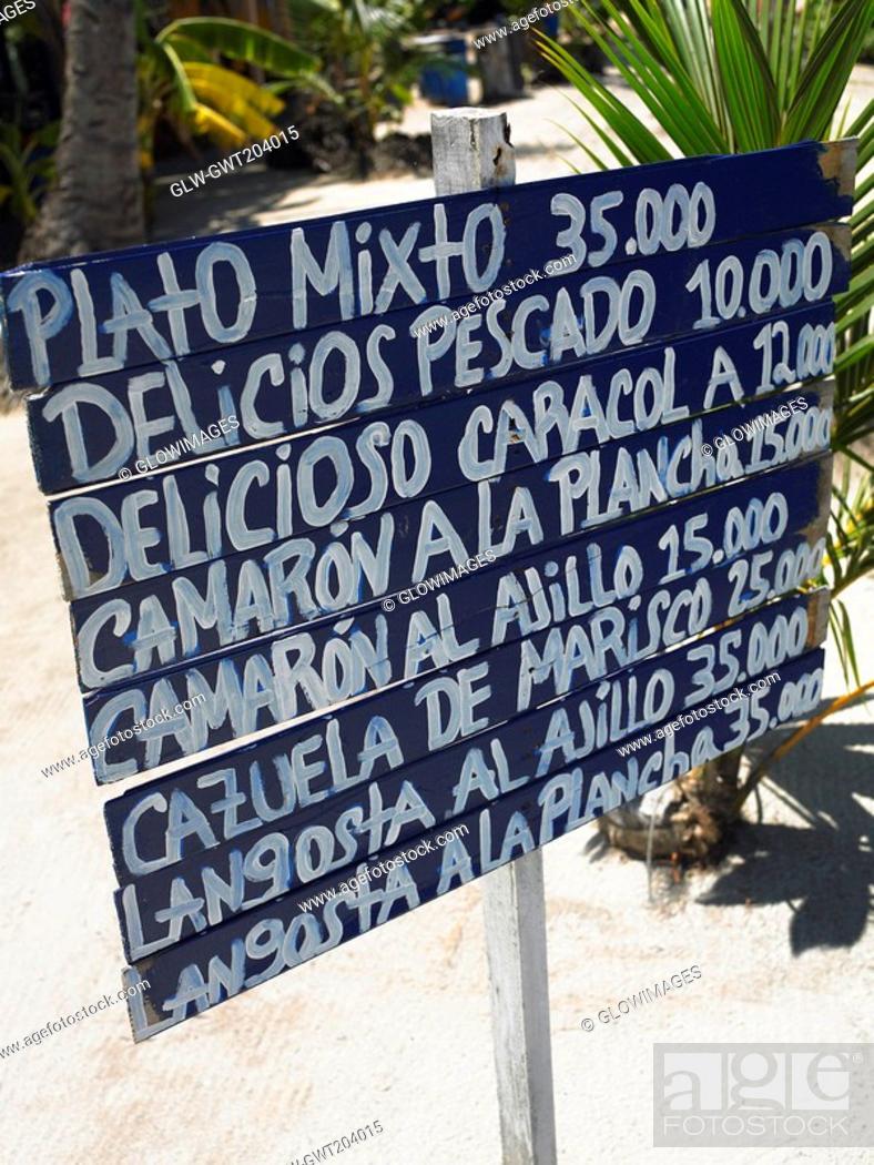 Stock Photo: Close-up of a menu board, Providencia, Providencia y Santa Catalina, San Andres y Providencia Department, Colombia.