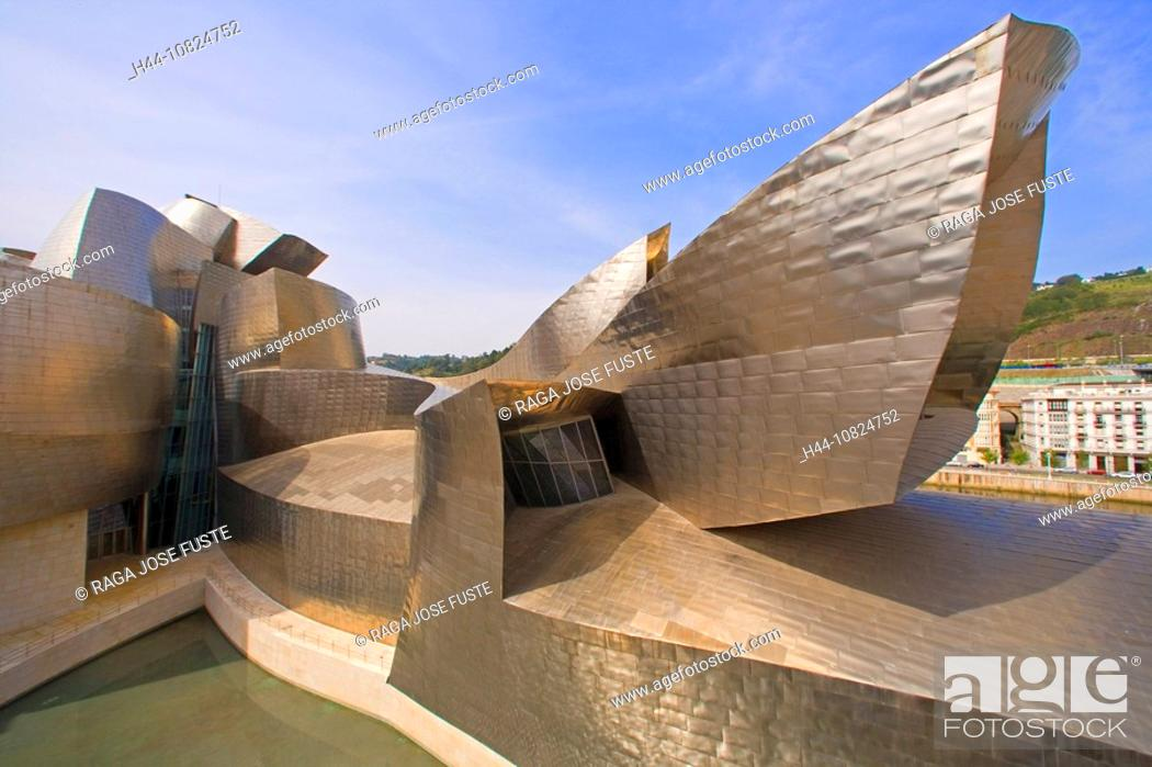 Stock Photo: Spain, Europe, Basque Provinces, Bilbao, Guggenheim Museum, art museum, architecture, moulder, Frank Gehry, art skill.