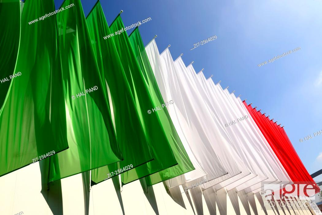 Stock Photo: MILAN, ITALY - October 07, EXPO 2015, colored banners create the Italian flag on a pavilion in exposition, shot on oct 07 2015 Milan, Italy.