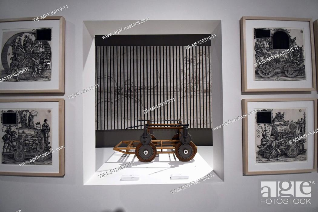Imagen: Exhibition 'Leonardo da Vinci. La scienza prima della scienza' ( The science before the science)Self-propelled wagon at Scuderie del Quirinale, Rome.