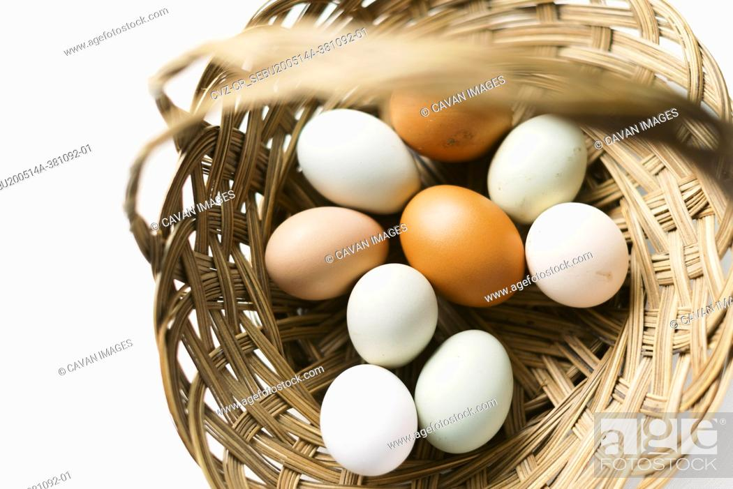 Stock Photo: Fresh eggs from the chicken coop.