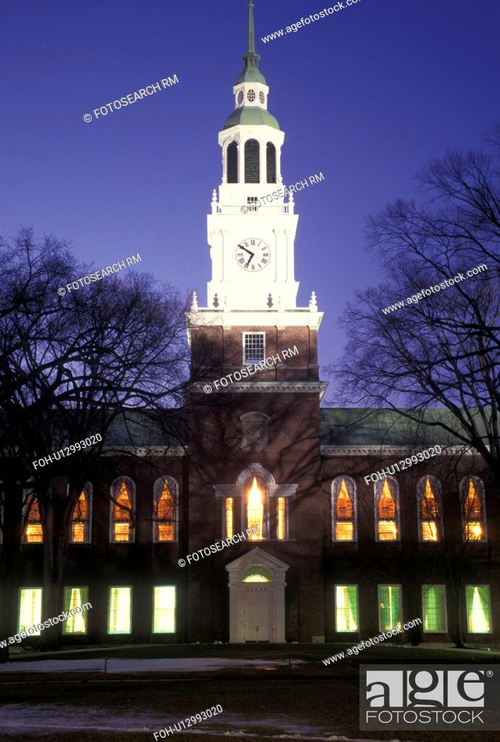 Stock Photo: college, university, New Hampshire, NH, Baker Library on the campus of Dartmouth College in Hanover in the evening in winter.