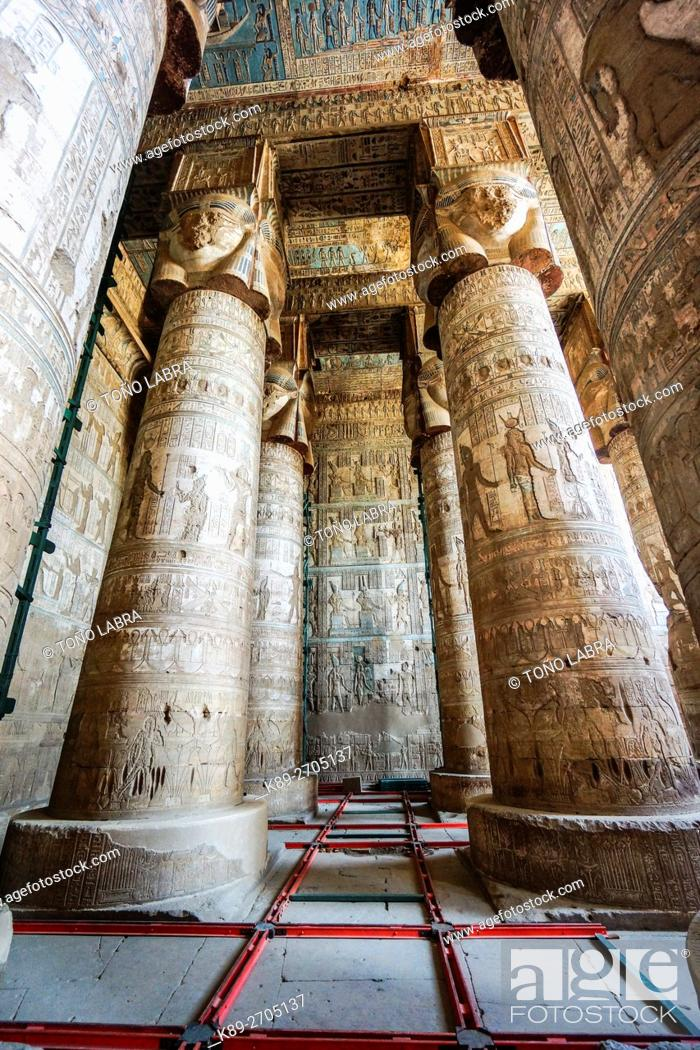 Stock Photo: Dendera temple of Hathor goddess. Upper Egypt.