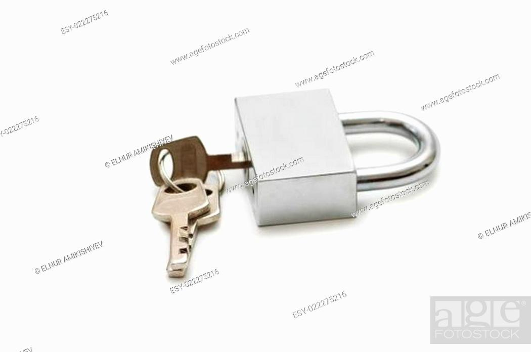 Photo de stock: Silver padlock and keys isolated on the white.
