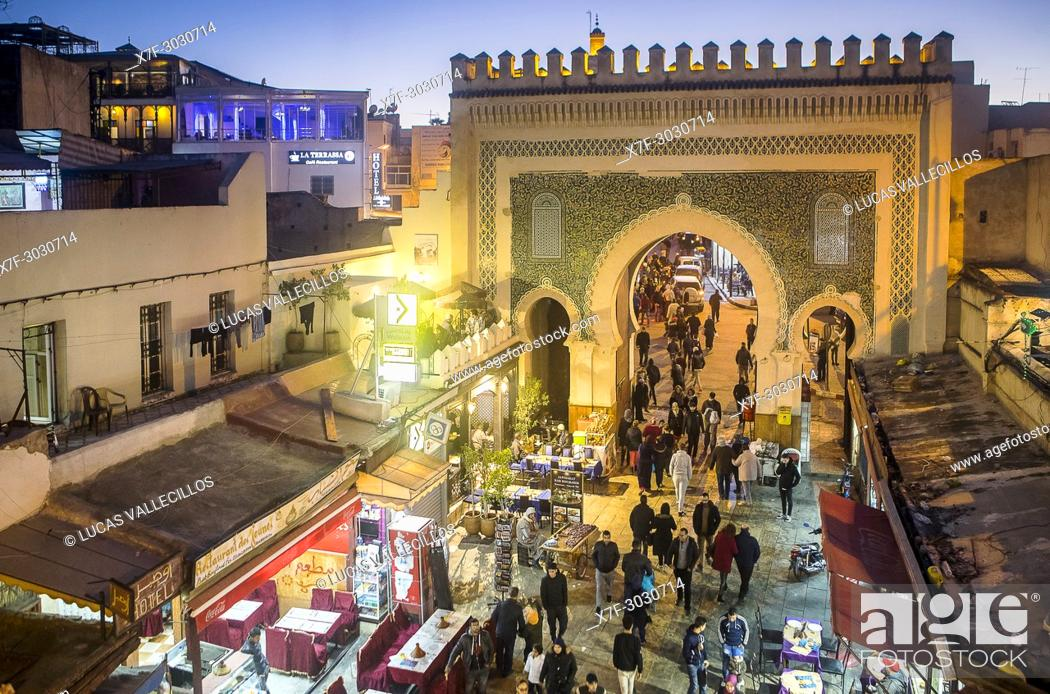Bab Bou Jeloud gate, medina,Fez  Morocco, Stock Photo