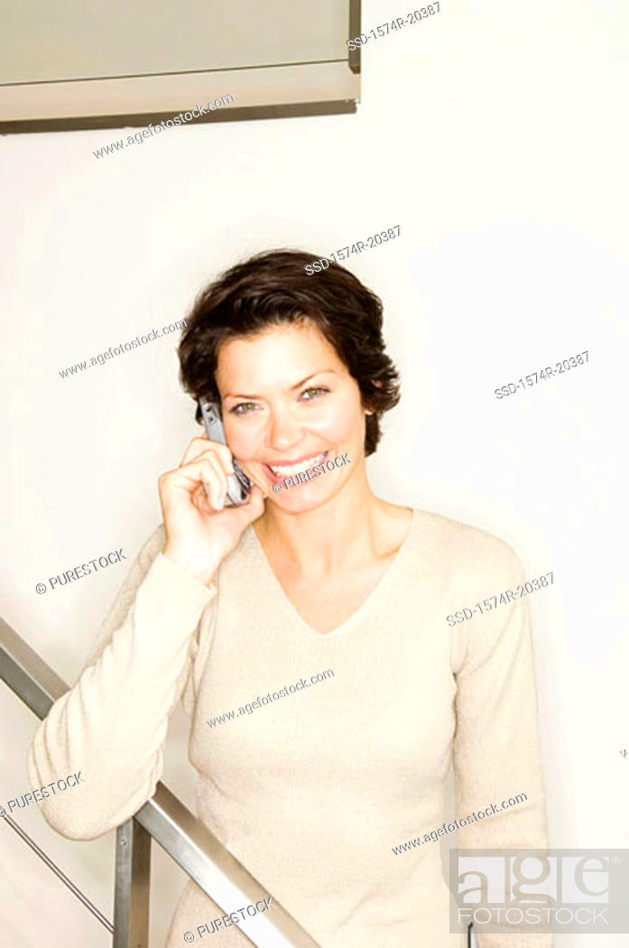 Stock Photo: Close-up of a businesswoman talking on a mobile phone.