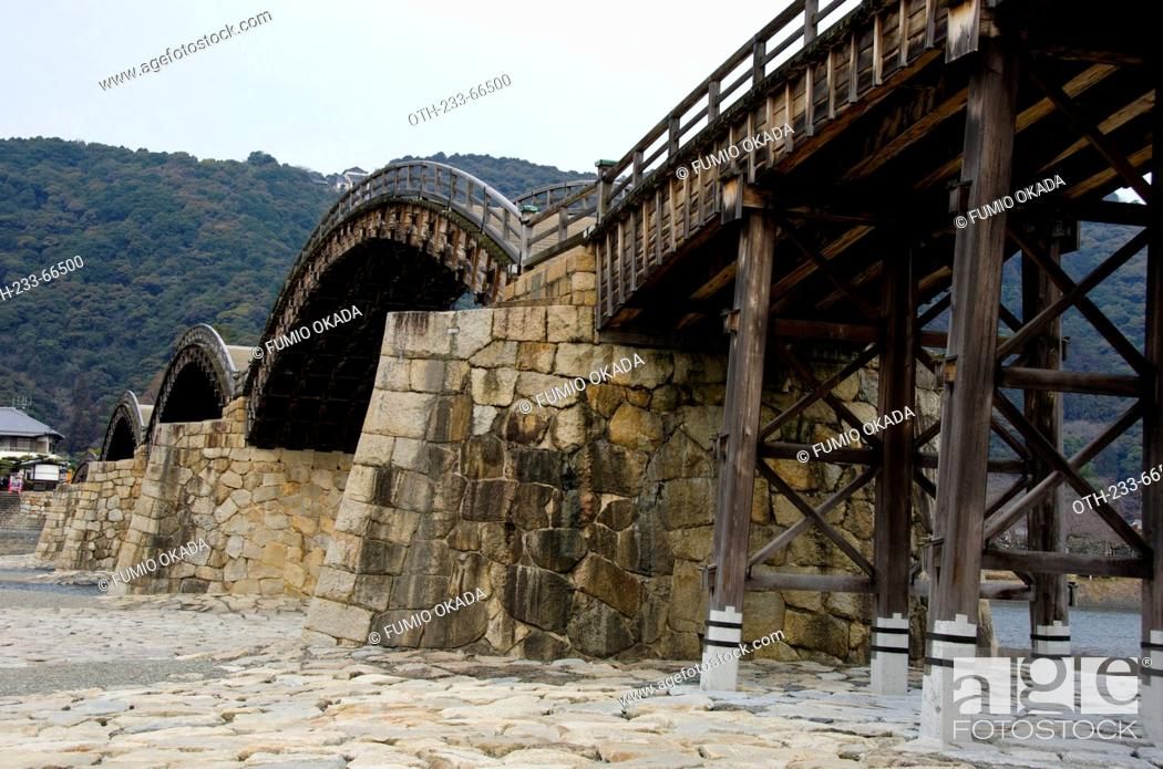 The 5 Arches Wooden Bridge Kintai Bridge Built In 1673 On Nishiki