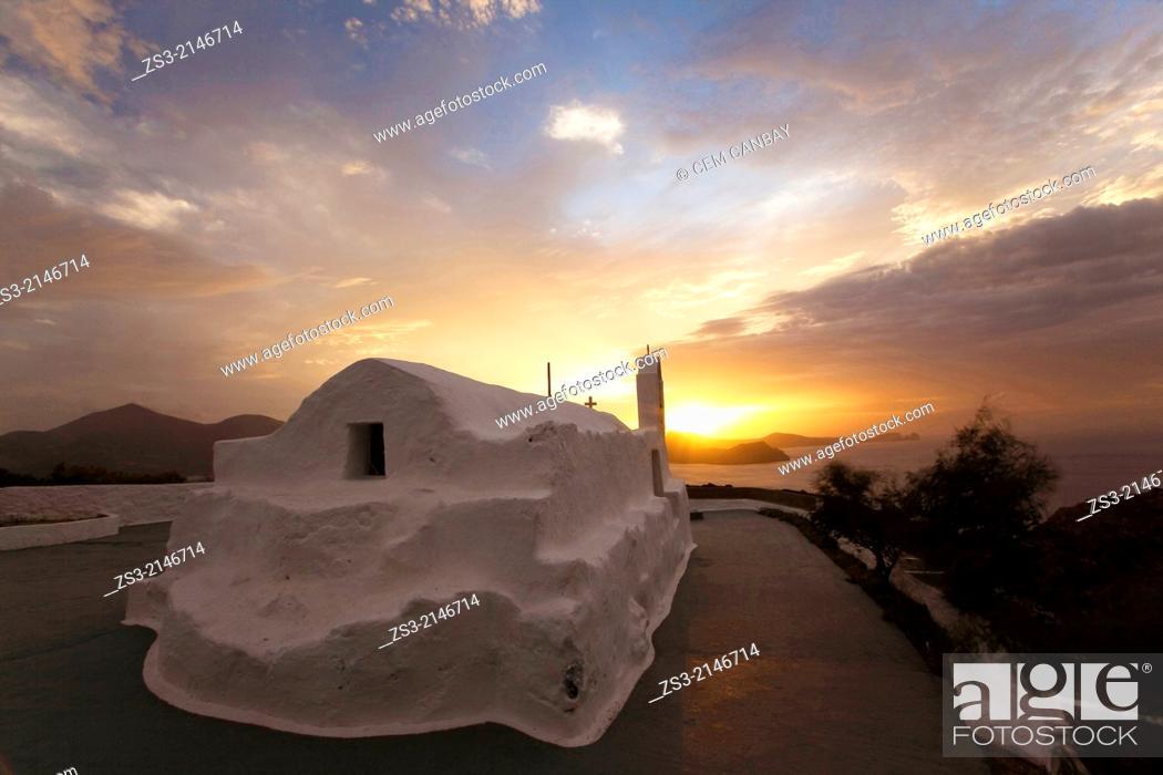 Stock Photo: Panagia Tourliani Chapel situated on a hill near Tripiti village, Milos Island, Cyclades Islands, Greek Islands, Greece, Europe.