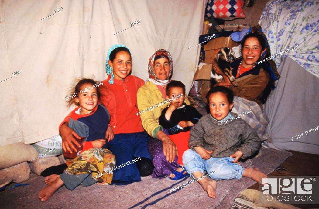 Stock Photo: Berber family in the desert near Ouarzazate. South Morocco.