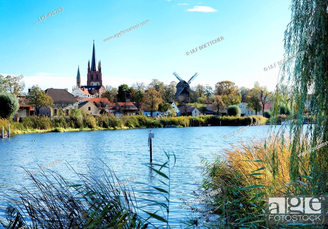 River Havel With Heilig Geist Church And Buck Windmill In Werder An