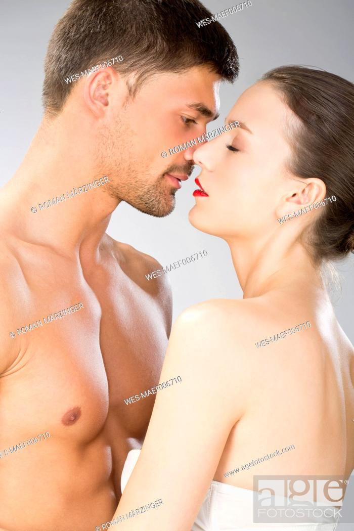 Stock Photo: Young couple falling in love, close up.