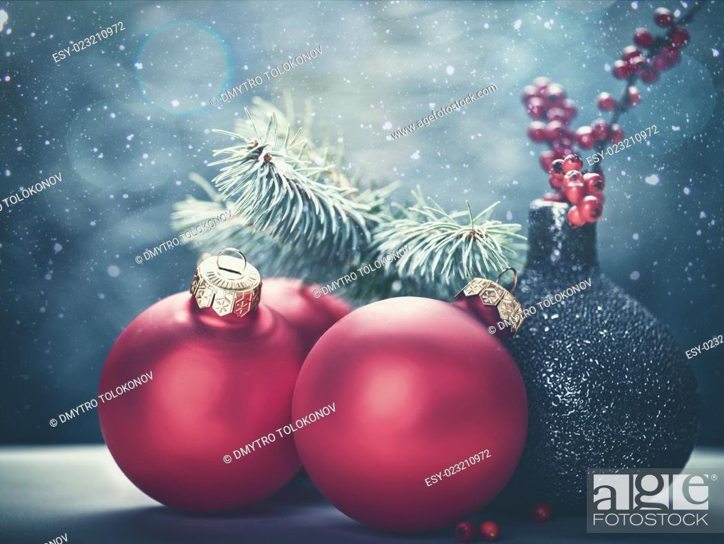 Stock Photo: Abstract Christmas backgrounds with holiday decorations and red berries.