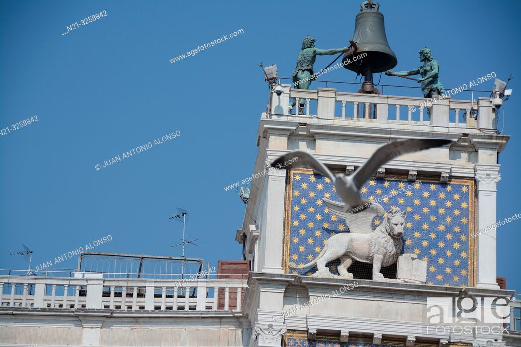 Stock Photo: The top of the Clock Tower - Torre dell'Orologio -.Piazza di San Marco. Venezia, Veneto, Italy.