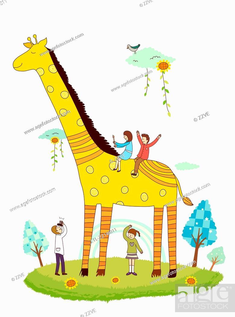 Stock Photo: Giraffe and children.