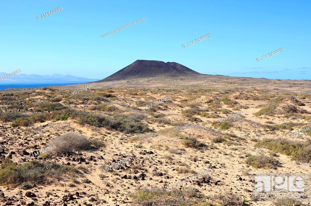 Stock Photo: Montana Amarilla volcano, La Graciosa Island, Las Palmas province, Canary Islands, Spain.