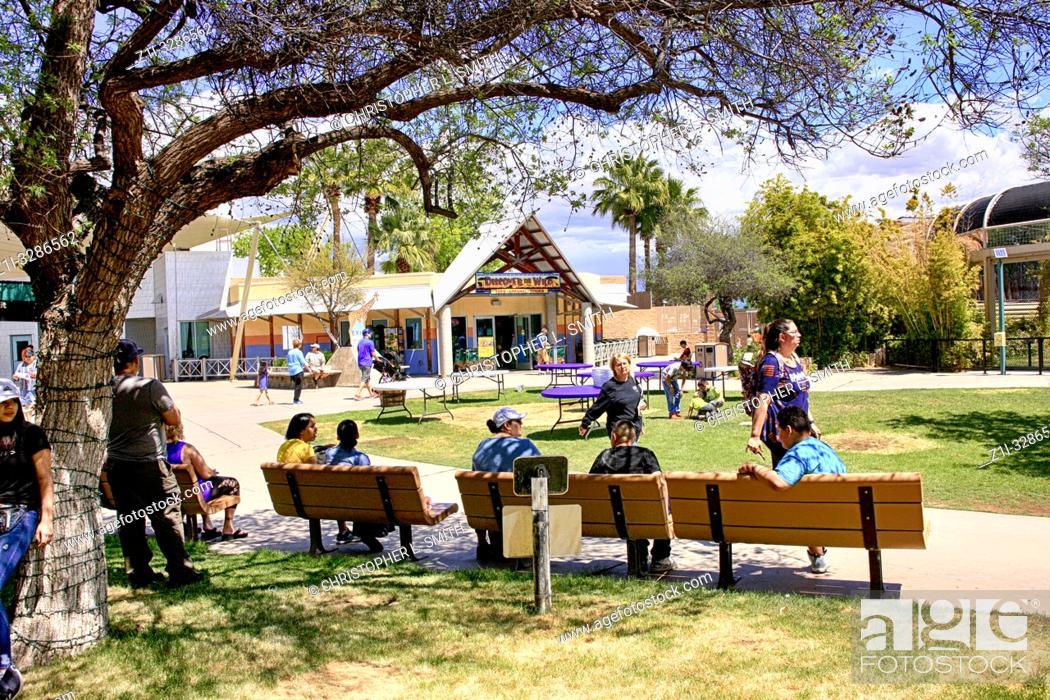 Stock Photo: People inside the Reid Park Zoo in Tucson Arizona.