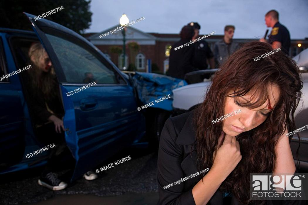 Stock Photo: Teenage girl involved in a road accident.