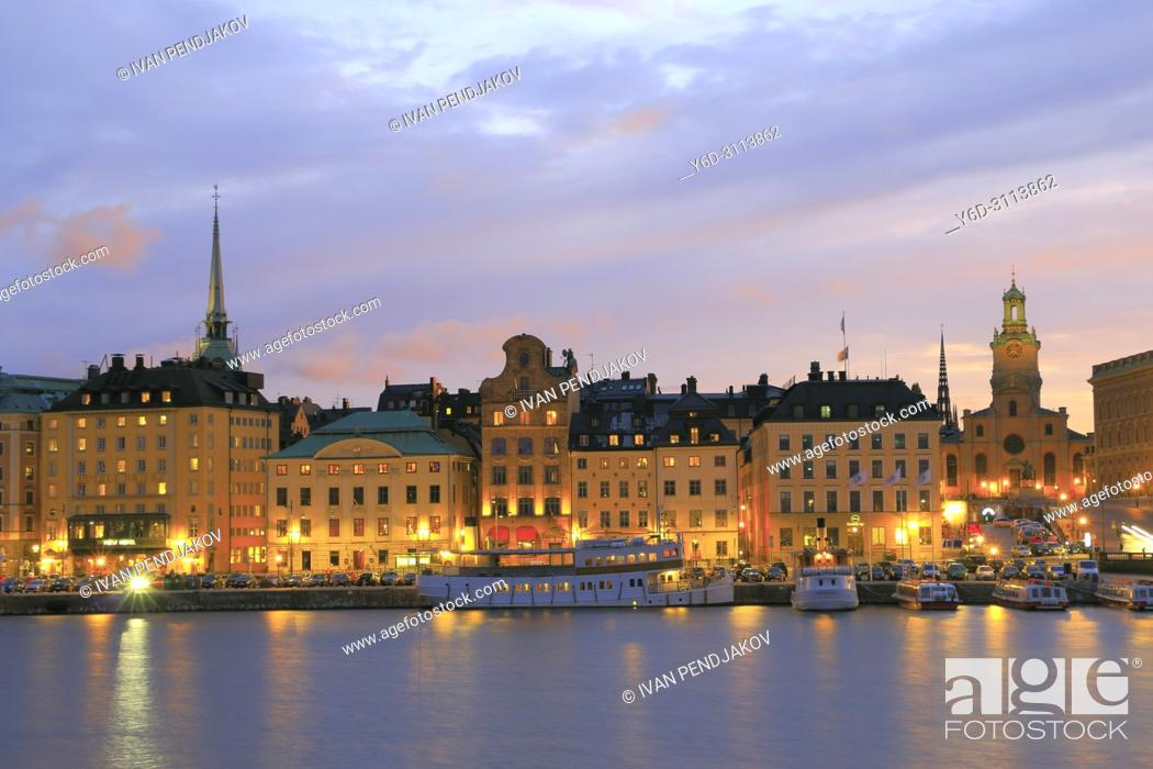 Stock Photo: The Old Town at Sunset, Stockholm, Sweden.