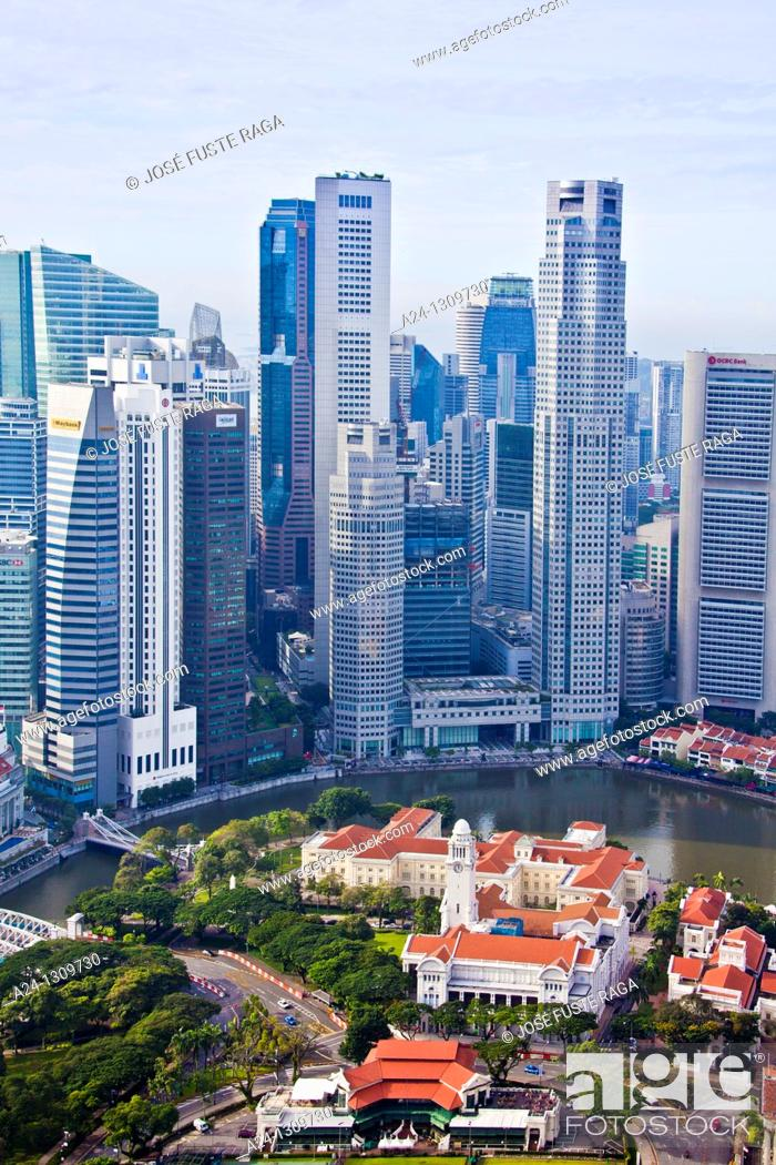 Stock Photo: Singapore City, Parliament Bldg and Down Town Skyline.