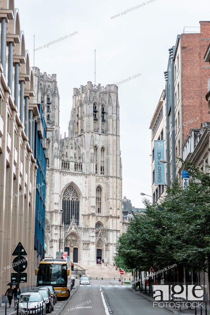 Stock Photo: Belgium, Brussels, Europe, Cathedral of St. Michael and St. Gudula.