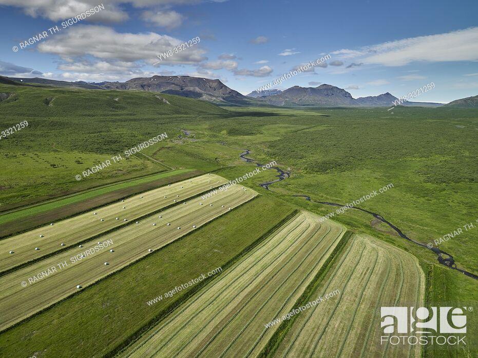 Photo de stock: Aerial farmland, Laugardalur, Iceland.
