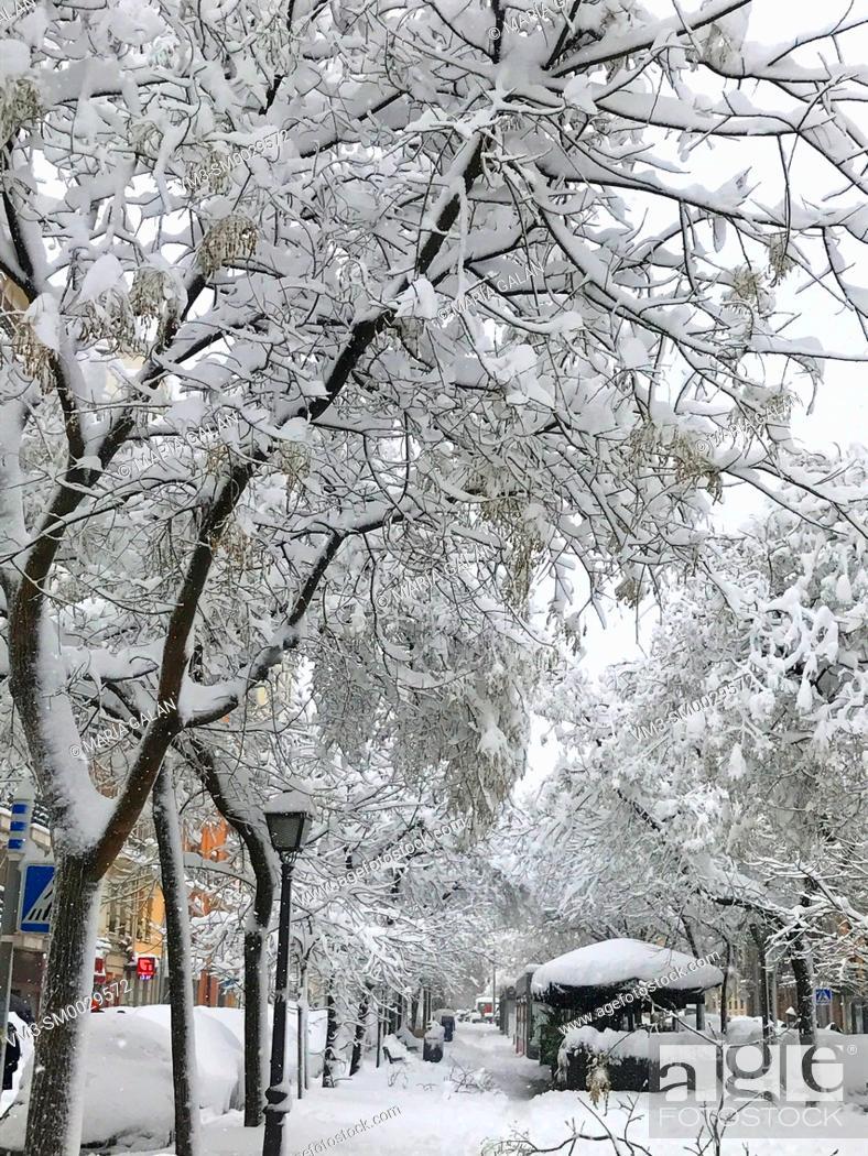 Stock Photo: Snowfall. Ibiza street, Madrid, Spain.