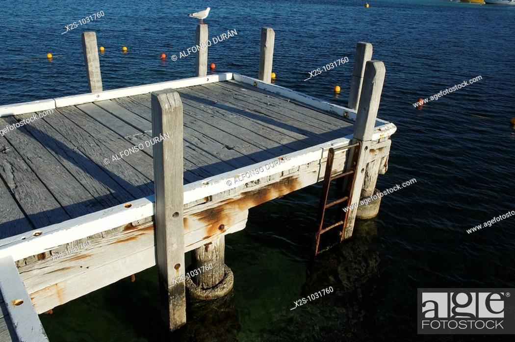 Stock Photo: Wood dock, Rottnest Island, Western Australia, Australia.