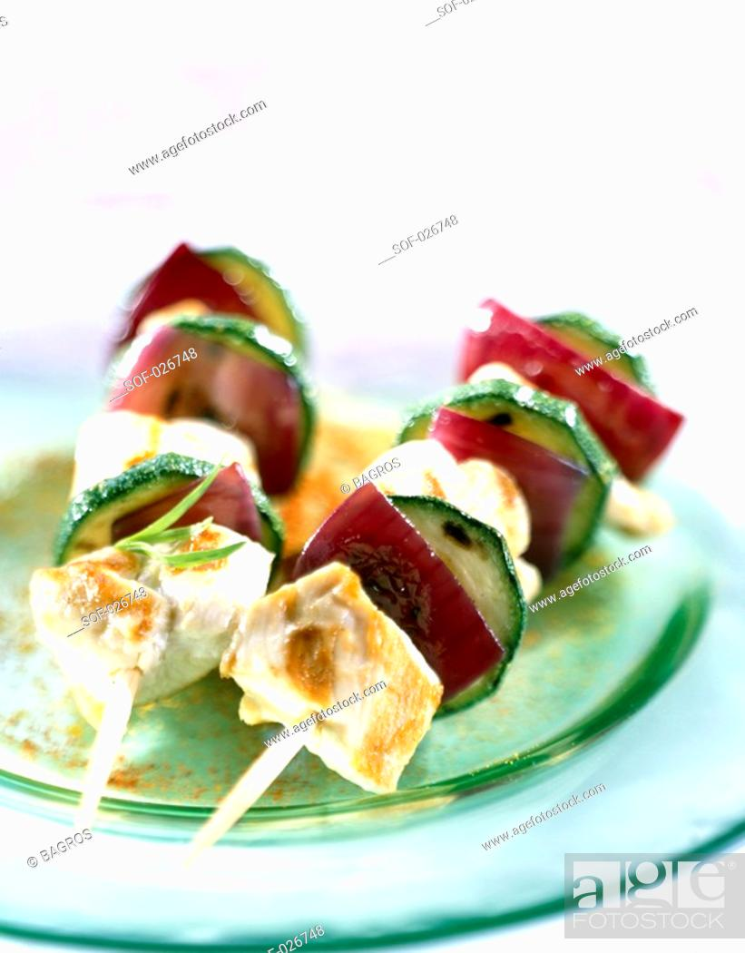Stock Photo: chicken and vegetable skewers.