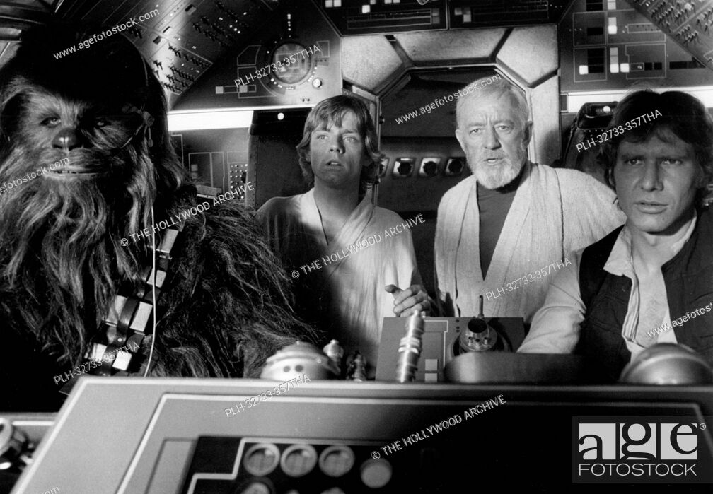 Stock Photo: Peter Mayhew, Mark Hamill, Alec Guinness and Harrison Ford, Star Wars Episode IV: A New Hope 1977 Lucasfilm Ltd.